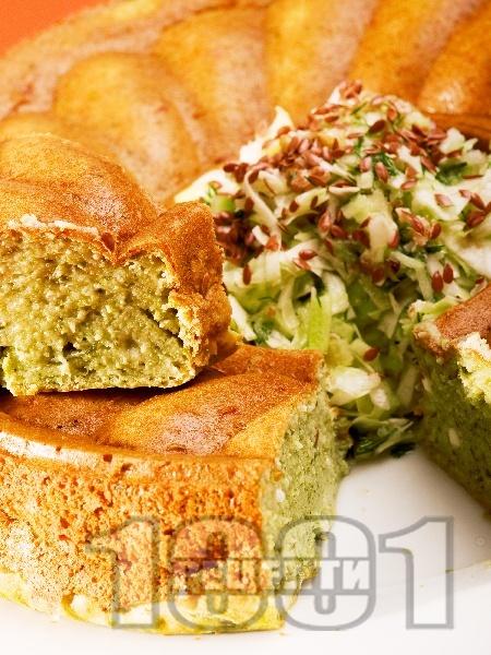 Спаначен кейк с извара и кисело мляко - снимка на рецептата